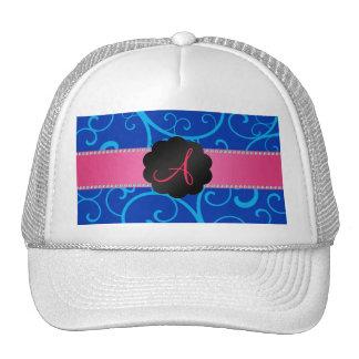 Monogram blue swirls trucker hat