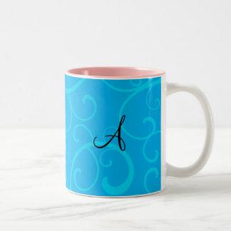 Monogram blue swirls mugs