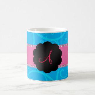 Monogram blue swirls mug