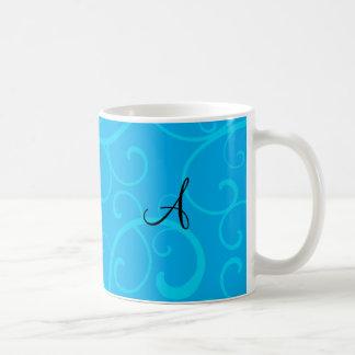 Monogram blue swirls coffee mugs