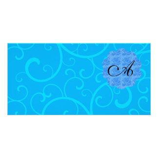 Monogram blue swirls picture card