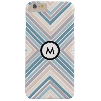 Monogram Blue Tan stripes Barely There iPhone 6 Plus Case
