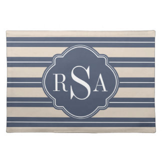 Monogram Blue Tan White Stripe Pattern Cloth Placemat