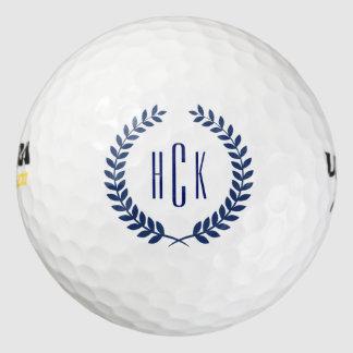 Monogram Blue Tones Abstract Wreath Golf Balls