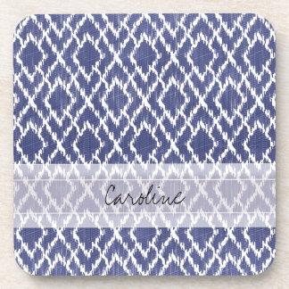 Monogram Blue Tribal Print Ikat Diamond Pattern Beverage Coaster