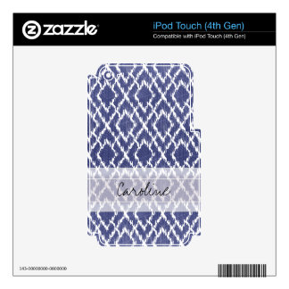 Monogram Blue Tribal Print Ikat Diamond Pattern Decals For iPod Touch 4G