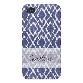 Monogram Blue Tribal Print Ikat Diamond Pattern iPhone 4/4S Case