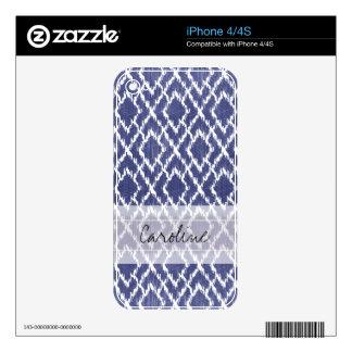 Monogram Blue Tribal Print Ikat Diamond Pattern iPhone 4 Decal