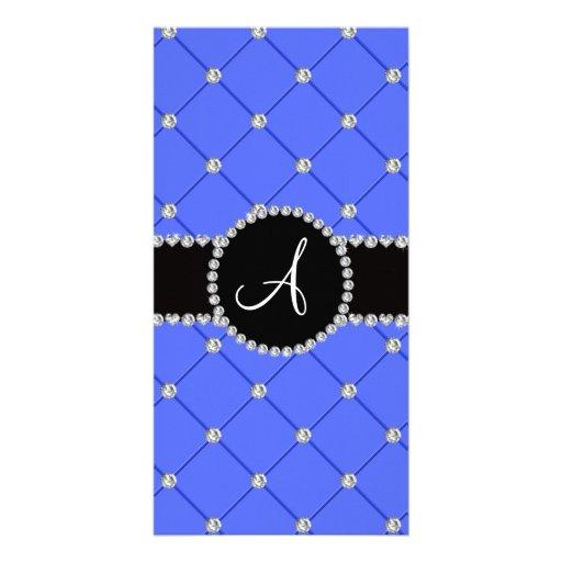 Monogram blue tuft diamonds customized photo card