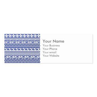 Monogram Blue Watercolor Aztec Tribal Print Pattrn Business Card