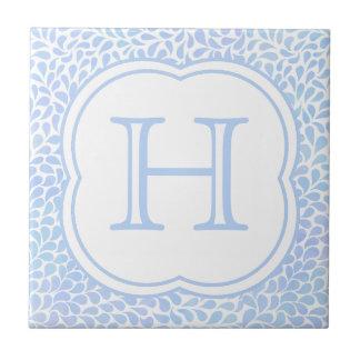 Monogram blue watercolor drops ceramic tile