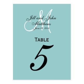 Monogram Blue Wedding Table Number Cards