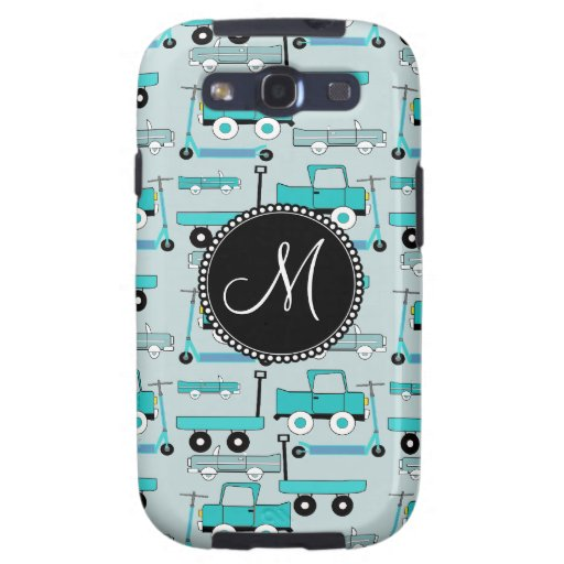 Monogram Blue Wheels Scooters Cars Wagons Trucks Galaxy SIII Cover