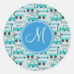 Monogram Blue Wheels Scooters Cars Wagons Trucks Classic Round Sticker