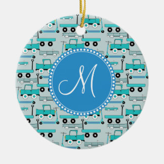 Monogram Blue Wheels Scooters Cars Wagons Trucks Double-Sided Ceramic Round Christmas Ornament