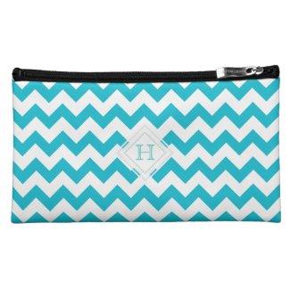 Monogram: Blue, White Chevron Pattern Bag Cosmetic Bags