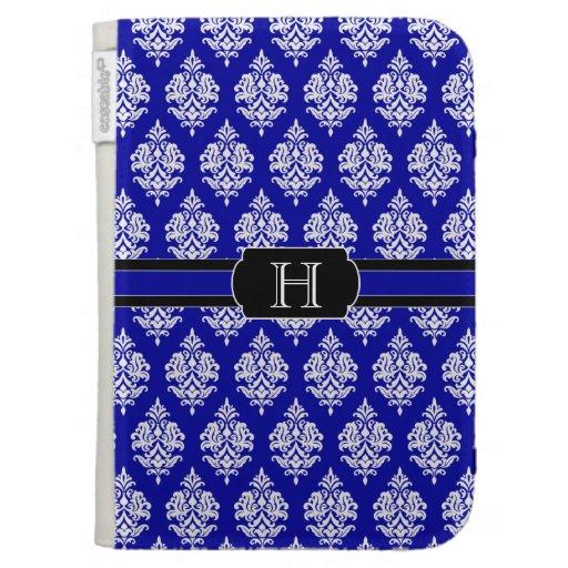 Monogram,Blue,White,Damask Pattern Kindle Case