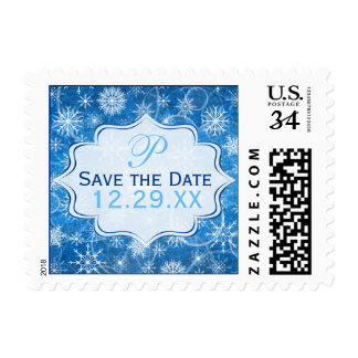 Monogram Blue, White Snowflake Save the Date Stamp