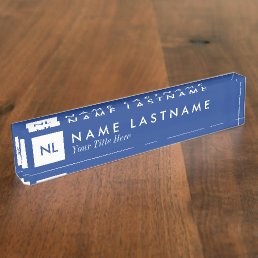 Monogram Blue White Square Desk Nameplate