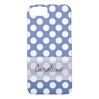 Monogram Blue White Trendy Fun Polka Dot Pattern iPhone 8/7 Case