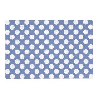 Monogram Blue White Trendy Fun Polka Dot Pattern Placemat