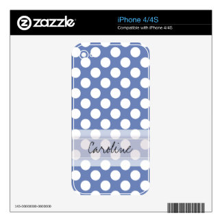Monogram Blue White Trendy Fun Polka Dot Pattern Skins For iPhone 4S