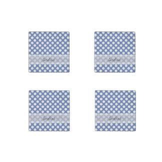 Monogram Blue White Trendy Fun Polka Dot Pattern Stone Magnet