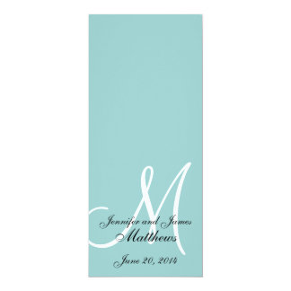 Monogram Blue White Wedding Church Program