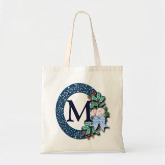 Monogram Blue Wreath with Holly and Flowers Tote Bag