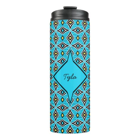 Monogram blue yellow aztec boho diamond design thermal tumbler