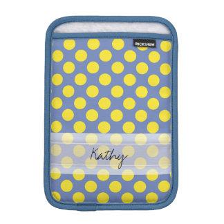 Monogram Blue Yellow Cute Chic Polka Dot Pattern iPad Mini Sleeves