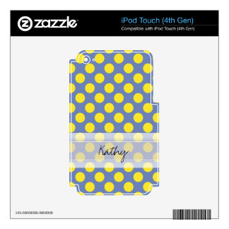 Monogram Blue Yellow Cute Chic Polka Dot Pattern Skin For iPod Touch 4G