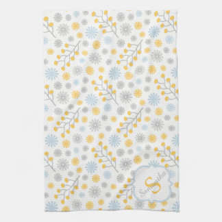 Monogram Blue Yellow & Gray Kitchen Towel 16x24