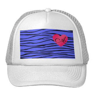 Monogram blue zebra stripes trucker hat