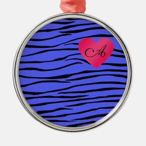 Monogram blue zebra stripes round metal christmas ornament