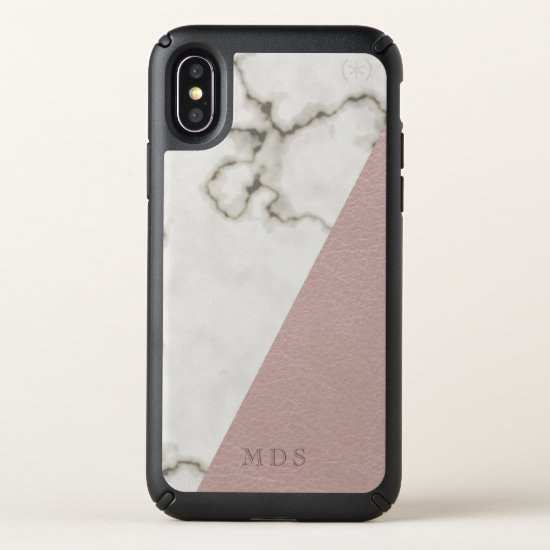 Monogram Blush Marble Speck Presidio iPhone X Case