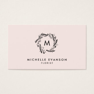Monogram Blush Pink and Black Floral Wreath Business Card