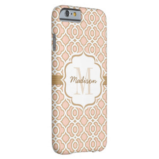 Monogram Blush Pink and Gold Quatrefoil Barely There iPhone 6 Case