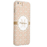 Monogram Blush Pink and Gold Quatrefoil Barely There iPhone 6 Plus Case