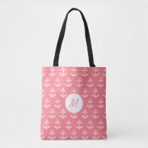 Monogram Blush Pink and White Nautical Anchor Tote Bag