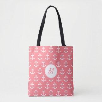 Monogram Blush Pink and White Nautical Anchor Tote Bag