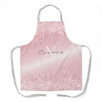Monogram Blush Rose Pink Dripping Glitter Metallic Apron