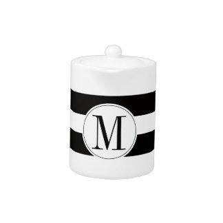 Monogram bold black and white stripe teapot