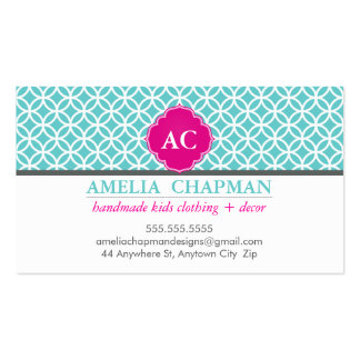 MONOGRAM bold geometric circles turquoise pink Double-Sided Standard Business Cards (Pack Of 100)