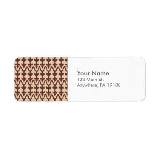 Monogram Bordeaux Tan Geometric Ikat Tribal Pattrn Label
