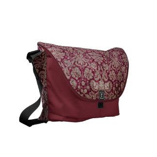 Monogram Bordeaux Vintage Damask Pattern Shoulder Commuter Bags
