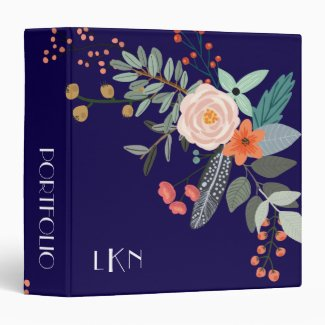 Monogram Botanical 3 Ring Binder