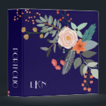 """Monogram Botanical 3 Ring Binder<br><div class=""""desc"""">A colorful spray of graphic botanical flowers decorate this binder and it can be personalized with three monogram initials on the front and custom text on the spine. The background is a rich navy blue.</div>"""