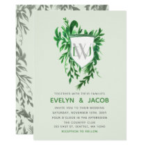 Monogram Botanical crest Greenery Wedding Card