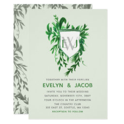 Monogram Botanical crest Greenery Wedding Invitations